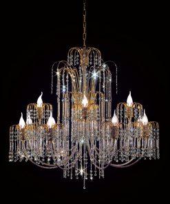 12 lights chandelier Finishes: 24 kt gold and crystal