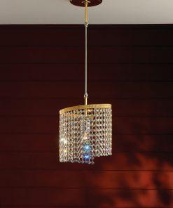Sospensione 1 luce oro lucido e cristallo.- Contemporary - Arredo Luce-0