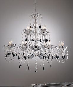 Lampadario 12 luci Murano cristallo Swarovski Jet - Fashion Crystal - Arredo Luce