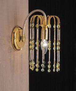 Applique 1 luce Finiture in oro 24 kt e cristallo