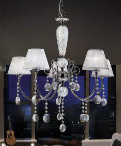 Lampadario 5 luci pendagli in cristallo - Miluna - Arredo Luce (Monica & Miluna)
