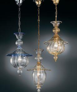 sospensione 1 luce vetrilamp- 1031/38 - cristallo oro