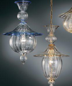sospensione 1 luce vetrilamp - 1031/38 - cristallo blu
