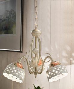 Lampadario 3 luci in Ceramica Lucida con motivo a intreccio e fascia dipinta a mano prodotta artigianalmente, C966, Verona, Ferroluce