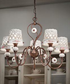 Lampadario 5 luci in Ceramica Lucida con motivo a intreccio e fascia dipinta a mano prodotta artigianalmente - C1225/5 - Verona - Ferroluce