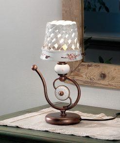 Lumetto in Ceramica Lucida C1221 - Verona - con motivo a intreccio e fascia dipinta a mano prodotta artigianalmente