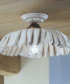 Plafoniera in Ceramica Lucida Decorata e dipinta a mano prodotta artigianalmente C908 , Modena - Ferroluce