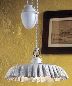 Sospensione saliscendi in Ceramica Lucida Decorata prodotta artigianalmente c904 -modena - Ferroluce