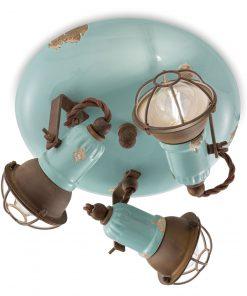 plafoniera 3 luci con gabbia - C1678/1-VIA- loft collection di ferroluce retro