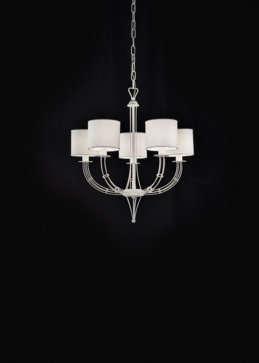 Sospensione 5 luci - bianco con paralumi cotone bianco Rialto - Metal lux 257.155.02
