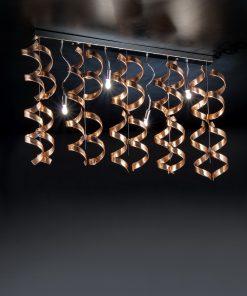 sospensione 4 luci - cromo foglia rame - Astro - Metal Lux 206.254.14