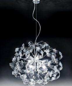 Sospensione 6 luci - cromo -Trasparente - Astro - Metal Lux - Lucilla