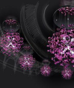 sospensione 6 luci , cromo e vetro magenta - Astro -Metal Lux 206.175.11