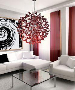 Sospensione 8 lucii cromo vetro rosso - Astro - Metal Lux - lucilla 206.180.04amb