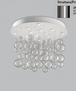 Plafoniera 12  luci base acciaio inox - 251.390 - Bolero - Metal Lux