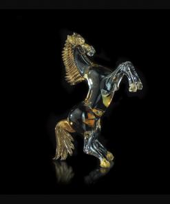 Cavallo in ambra nero e oro - Arte di Murano