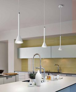 Sospensione 1 luce in metallo  verniciato bianco  6420 B  - Perenz