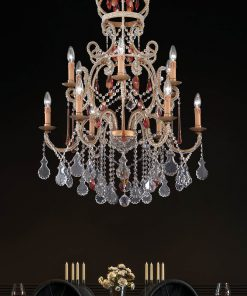 Arredoluce - lampadario 12 luci finitura brunito e cristallo Asfour - 852/12