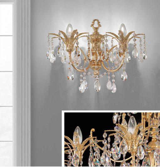 Arredoluce -applique 2 luci ottone dorato e cristallo Asfour - 709/A2