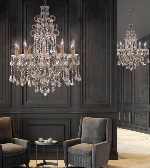 Arredoluce - lampadario 10 luci -  finitura brunito e cristallo Asfour- 855/10