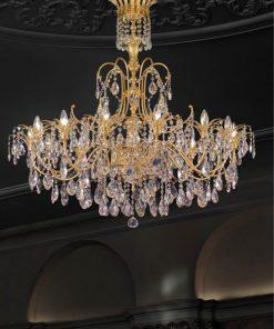 Arredoluce - lampadario 14 luci ottone dorato e cristallo Asfour  - 709/14