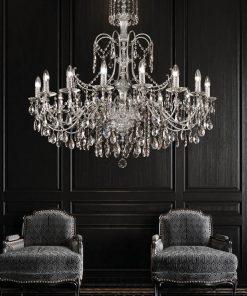 Arredoluce - lampadario 16 luci  ottone cromo e cristallo Asfour - 708/16