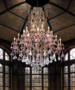 Arredoluce - lampadario 24 luci finitura brunito e cristallo Asfour- 853/24
