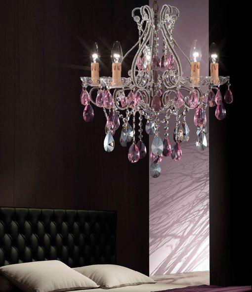 Arredoluce - lampadario 5 luci - finitura brunito e cristallo Asfour -854/5