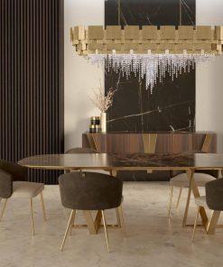 Lampadario moderno su tavolo da pranzo