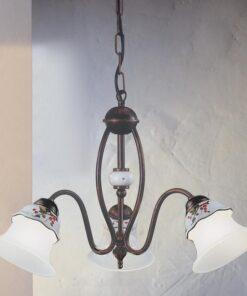 lampadario 3 luci rustico