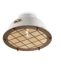 1-light ceiling lamp in white ceramic