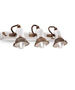 3-light sconce made of white ceramic (VIB) and rust metal elements