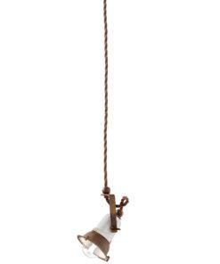 1-light suspension lamp, in white ceramic vintage